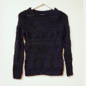 LOFT Black Mohair Sequined Long Sleeves Sweater